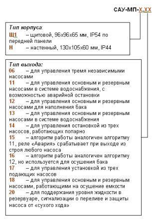 Обозначение при заказе САУ-МП